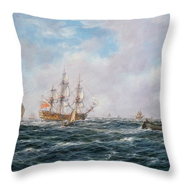 British Man-o-war And Other Craft Throw Pillow by Richard Willis