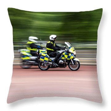 British Police Motorcycle Throw Pillow