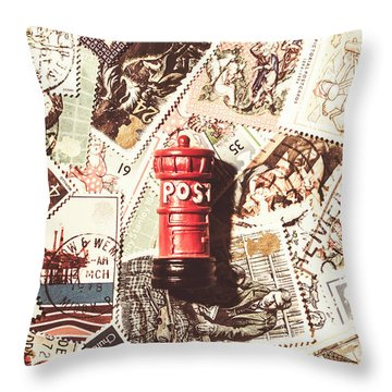Throw Pillow featuring the photograph British Post Box by Jorgo Photography - Wall Art Gallery