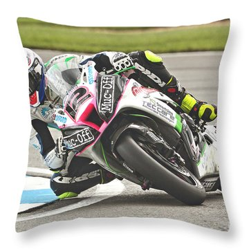 British Superbikes Throw Pillow by Peter Hatter