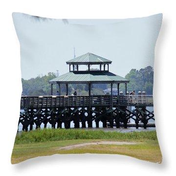 Brittlebank Park Pier Throw Pillow