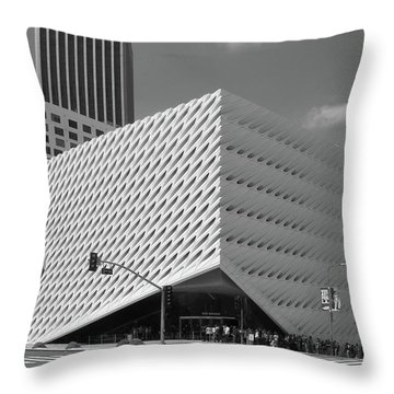 Throw Pillow featuring the photograph Broad Museum Los Angeles In Black And White by Ram Vasudev