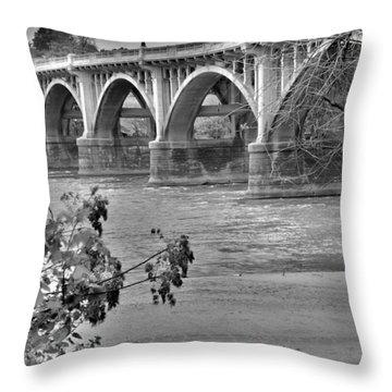 Gervais Street Bridge Black And White Throw Pillow