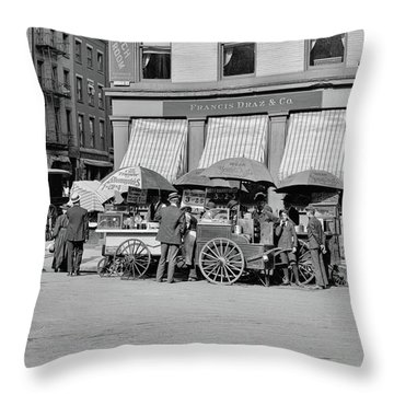 Broad St. Lunch Carts New York Throw Pillow