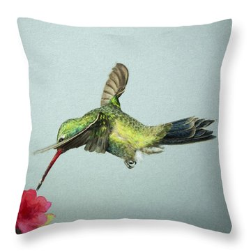 Throw Pillow featuring the digital art Broadbill Hummingbird With Digital Painting Effect by Gregory Scott