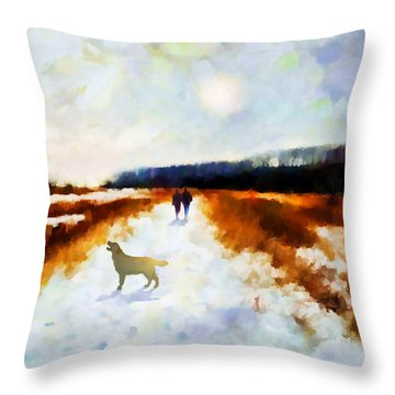 Broadland Walk Throw Pillow by Valerie Anne Kelly