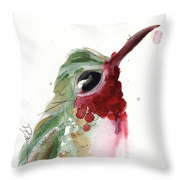Throw Pillow featuring the painting Broadtail Hummingbird by Dawn Derman
