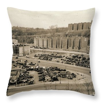 Broadway And Nagle Ave 1936 Throw Pillow by Cole Thompson