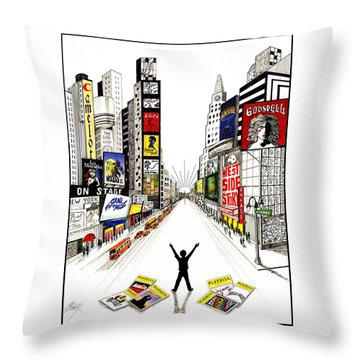 Throw Pillow featuring the drawing Broadway Dreamin' by Marilyn Smith