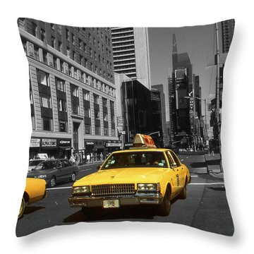 New York Broadway - Yellow Taxi Cabs Throw Pillow
