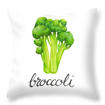 Throw Pillow featuring the painting Broccoli by Cindy Garber Iverson