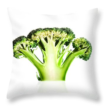 Broccoli Cutaway On White Throw Pillow