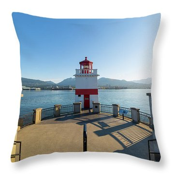 Brockton Point Lighthouse At Stanley Park Throw Pillow by David Gn