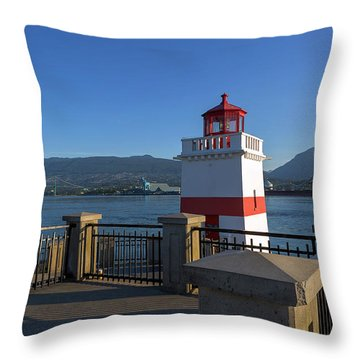 Brockton Point Lighthouse In Vancouver Bc Throw Pillow by David Gn