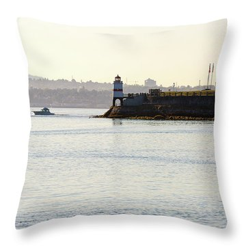 Brockton Point Lighthouse On Peninsula At Stanley Park Throw Pillow by David Gn
