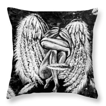 Throw Pillow featuring the painting Broken Angel by Teresa Wing