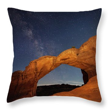Broken Arch And Milky Way Throw Pillow