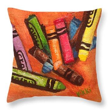 Broken Crayons Throw Pillow