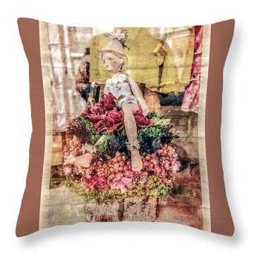 Throw Pillow featuring the photograph Broken Doll In The Window by Melinda Ledsome