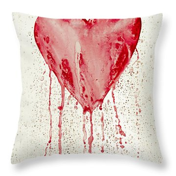 Broken Heart - Bleeding Heart Throw Pillow by Michal Boubin