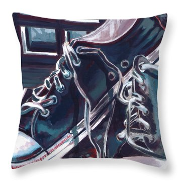 Throw Pillow featuring the painting Broken-in Converse by Shawna Rowe