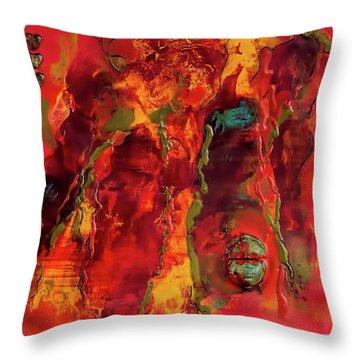 Broken Mask Encaustic Throw Pillow by Bellesouth Studio