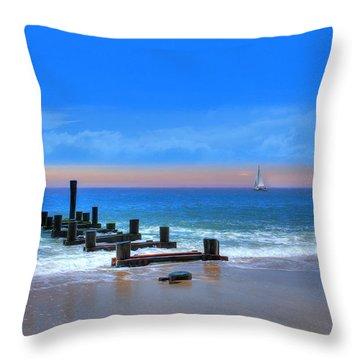 Throw Pillow featuring the digital art Broken Pier by Sharon Batdorf
