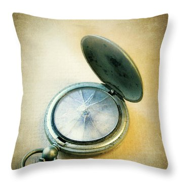 Broken Pocket Watch Throw Pillow by Jill Battaglia