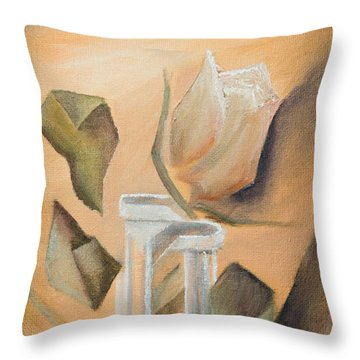 Throw Pillow featuring the painting Broken Rose by Break The Silhouette