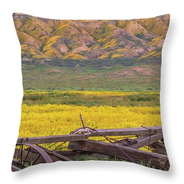 Throw Pillow featuring the photograph Broken Wagon In A Field Of Flowers by Marc Crumpler