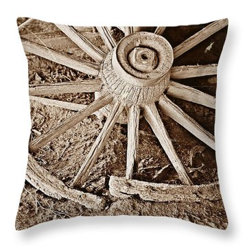 Throw Pillow featuring the photograph Broken Wagon Wheel- Fine Art by KayeCee Spain