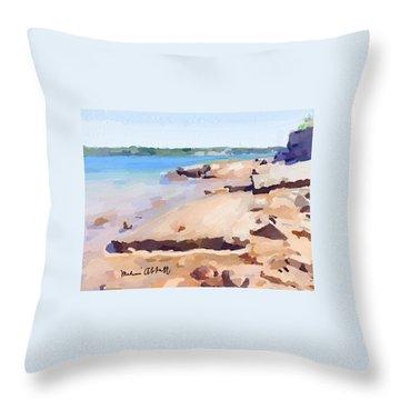 Broken Walkway Rock At Ten Pound Island Beach Throw Pillow
