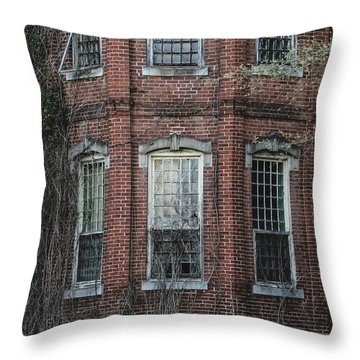 Throw Pillow featuring the photograph Broken Windows On Abandoned Building by Kim Hojnacki