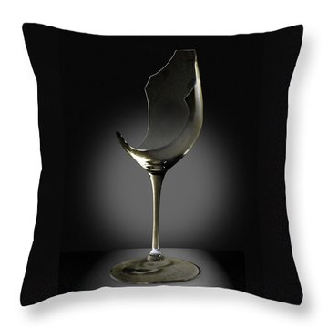 Broken Wine Glass Throw Pillow by Yuri Lev