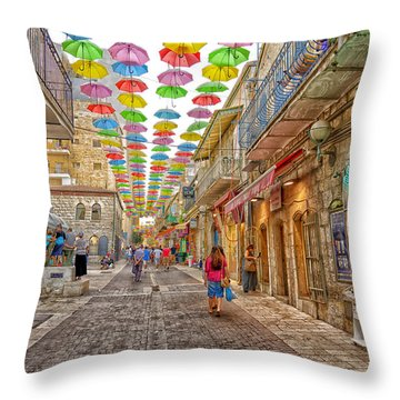 Brollies Over Jerusalem Throw Pillow