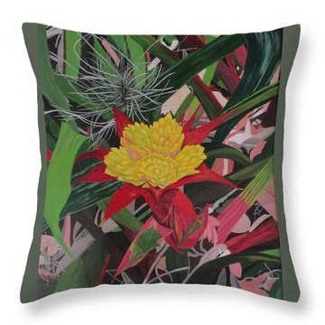 Throw Pillow featuring the painting Bromelaid And Airplant by Hilda and Jose Garrancho