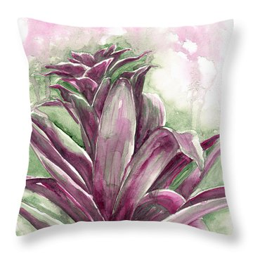 Throw Pillow featuring the painting Bromeliad by Ashley Kujan