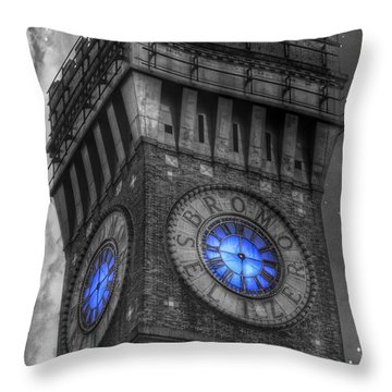 Bromo Seltzer Tower Baltimore - Blue  Throw Pillow