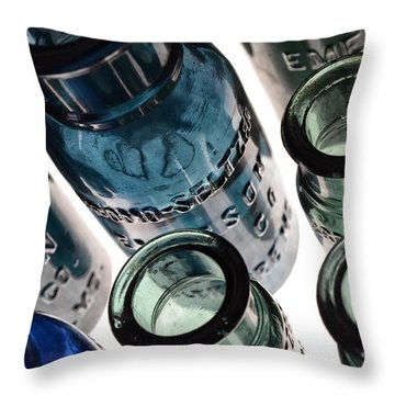 Bromo Seltzer Vintage Glass Bottles - Rare Green And Blue Throw Pillow