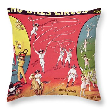 Bronco Bills Circus Throw Pillow by English School