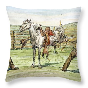 Bronco Busters Throw Pillow by Granger