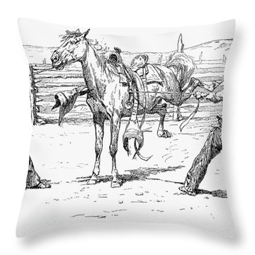 Bronco Busters Saddling Throw Pillow by Granger