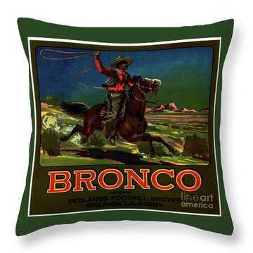 Bronco Redlands California Throw Pillow
