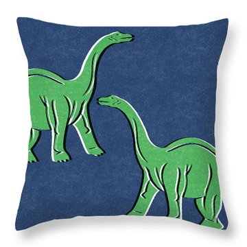 Brontosaurus Throw Pillow by Linda Woods
