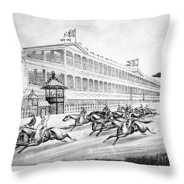 Bronx: Horse Race, 1866 Throw Pillow by Granger