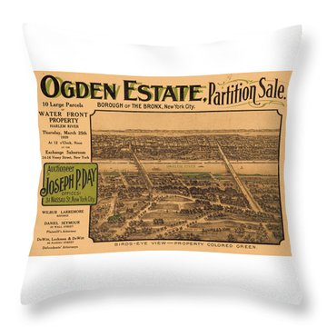 1909 Bronx New York Realtor Flyer Throw Pillow