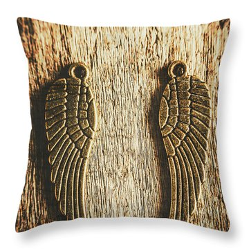 Bronze Angel Wings Throw Pillow