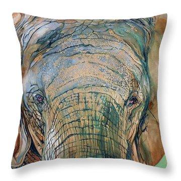 Bronze Elephant Throw Pillow by Raymond Perez