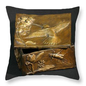 Bronze Hummingbird Box Throw Pillow by Dawn Senior-Trask