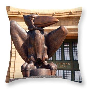 Bronze Jayhawk Throw Pillow